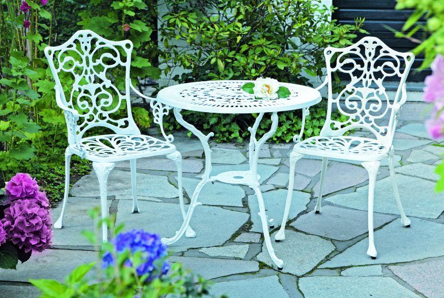 Gartenmobel Aus Paletten Selber Bauen : Gartenset Bistroset LUGANO 3teilig Alu  Aluguss, weiss, Jugendstil