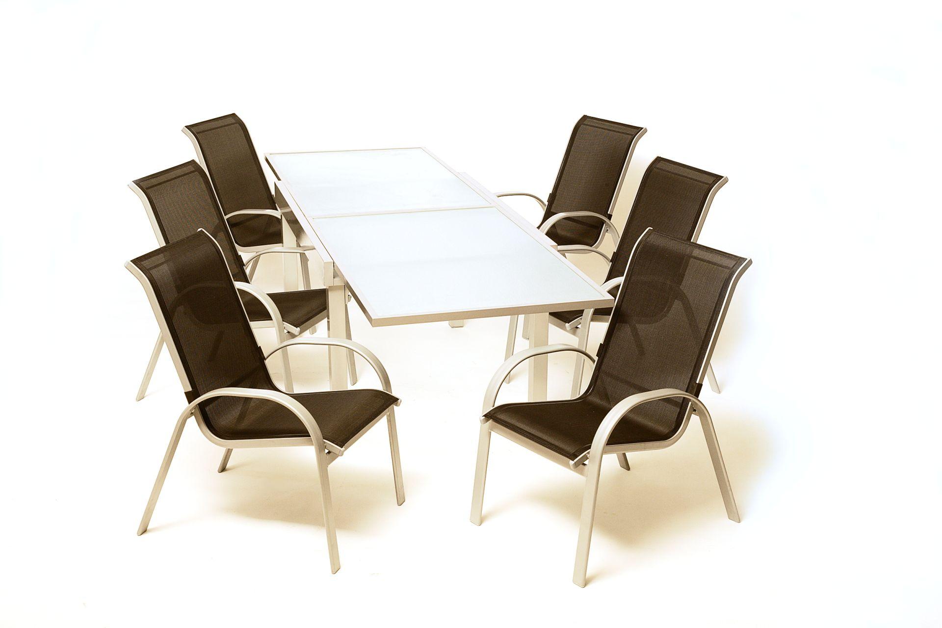 2x stapelsessel alusessel amalfi aluminium silber kunststoffgewebe schwarz ebay. Black Bedroom Furniture Sets. Home Design Ideas