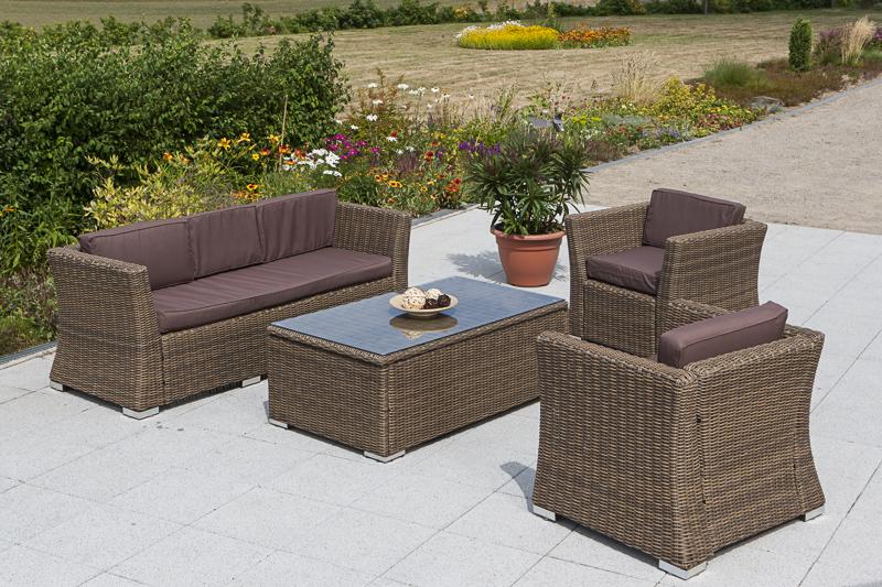 exclusives loungesofa lounge sofa luxor 3 sitzer polyrattan beige mit polster ebay. Black Bedroom Furniture Sets. Home Design Ideas