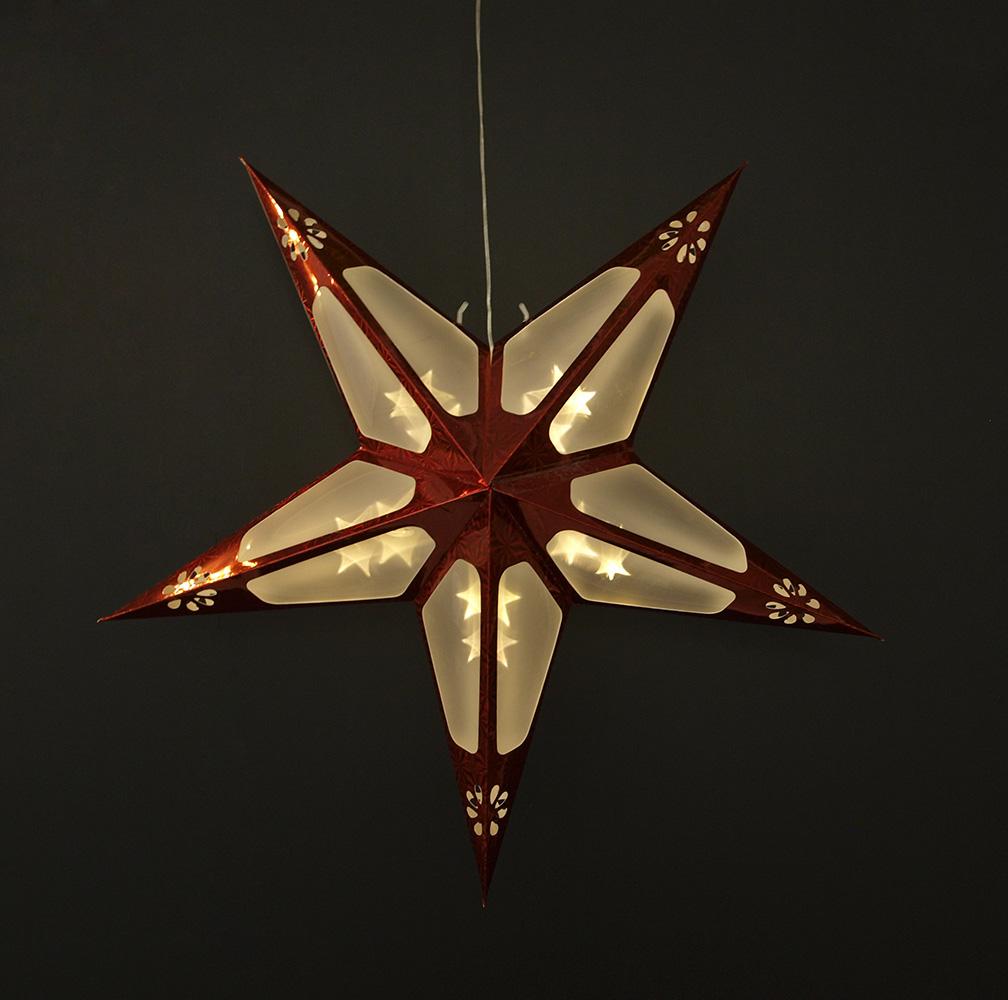 papierstern weihnachtsstern beleuchtet leuchtstern stary 60cm rot 10 led ebay. Black Bedroom Furniture Sets. Home Design Ideas