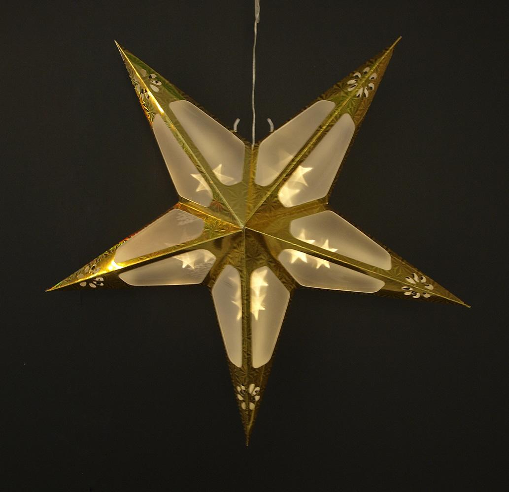 papierstern weihnachtsstern beleuchtet leuchtstern stary 60cm gold 10 led ebay. Black Bedroom Furniture Sets. Home Design Ideas