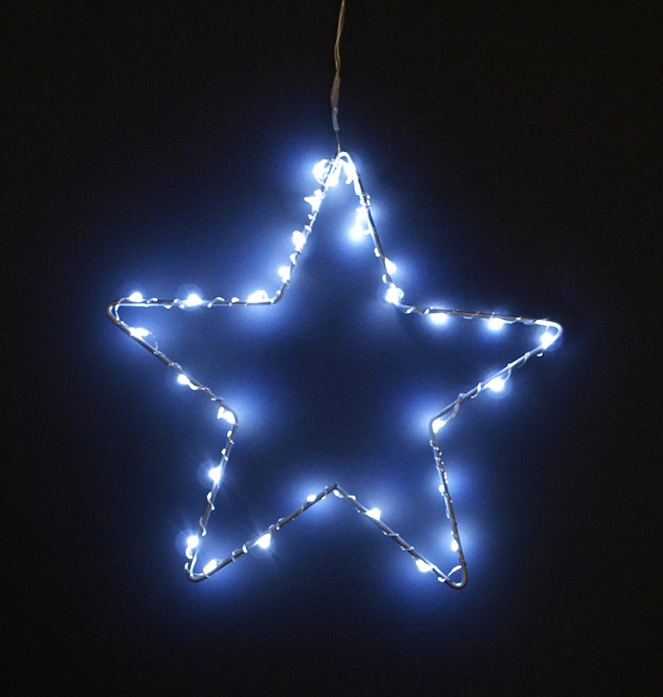fensterbild leuchtbild fenstersilhouette stern aus metall mit 30 led eisweiss. Black Bedroom Furniture Sets. Home Design Ideas