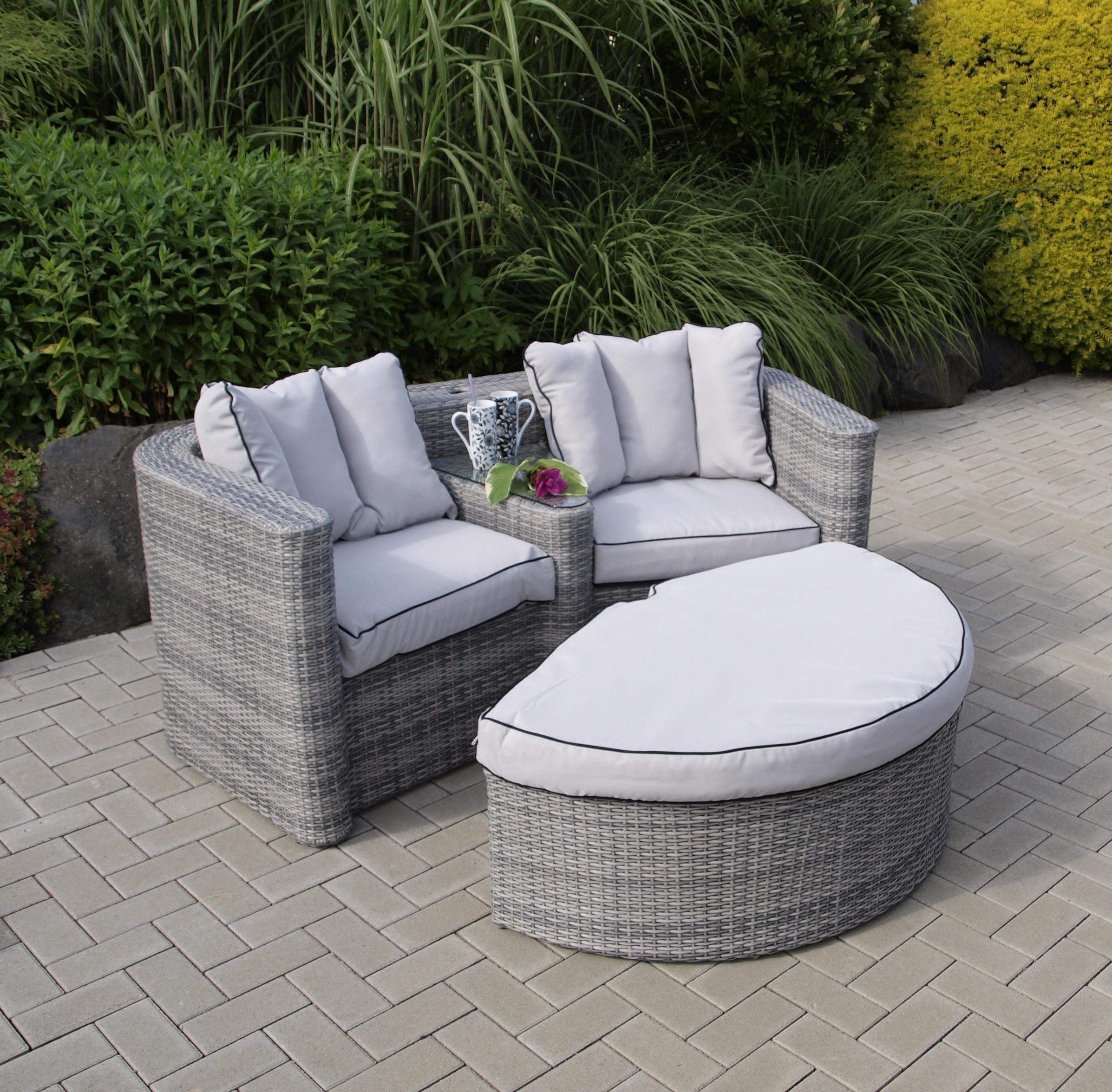 loveseat love seat san lorenzo mit fussteil alu polyrattan grau mit polstern ebay. Black Bedroom Furniture Sets. Home Design Ideas