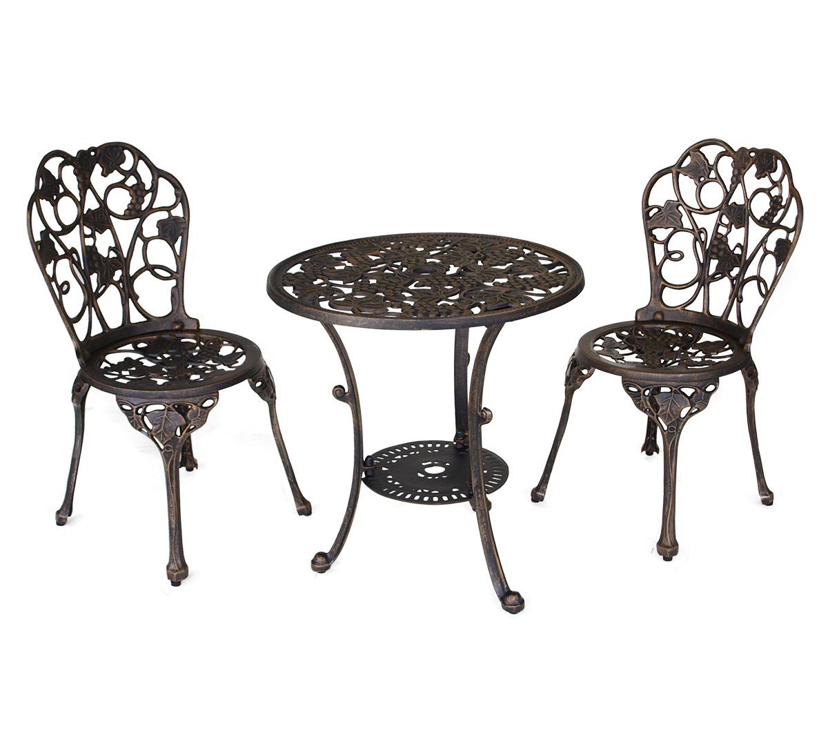 bistroset amsterdam 2 teilig aluminium aluguss bronze antik 2 wahl ebay. Black Bedroom Furniture Sets. Home Design Ideas