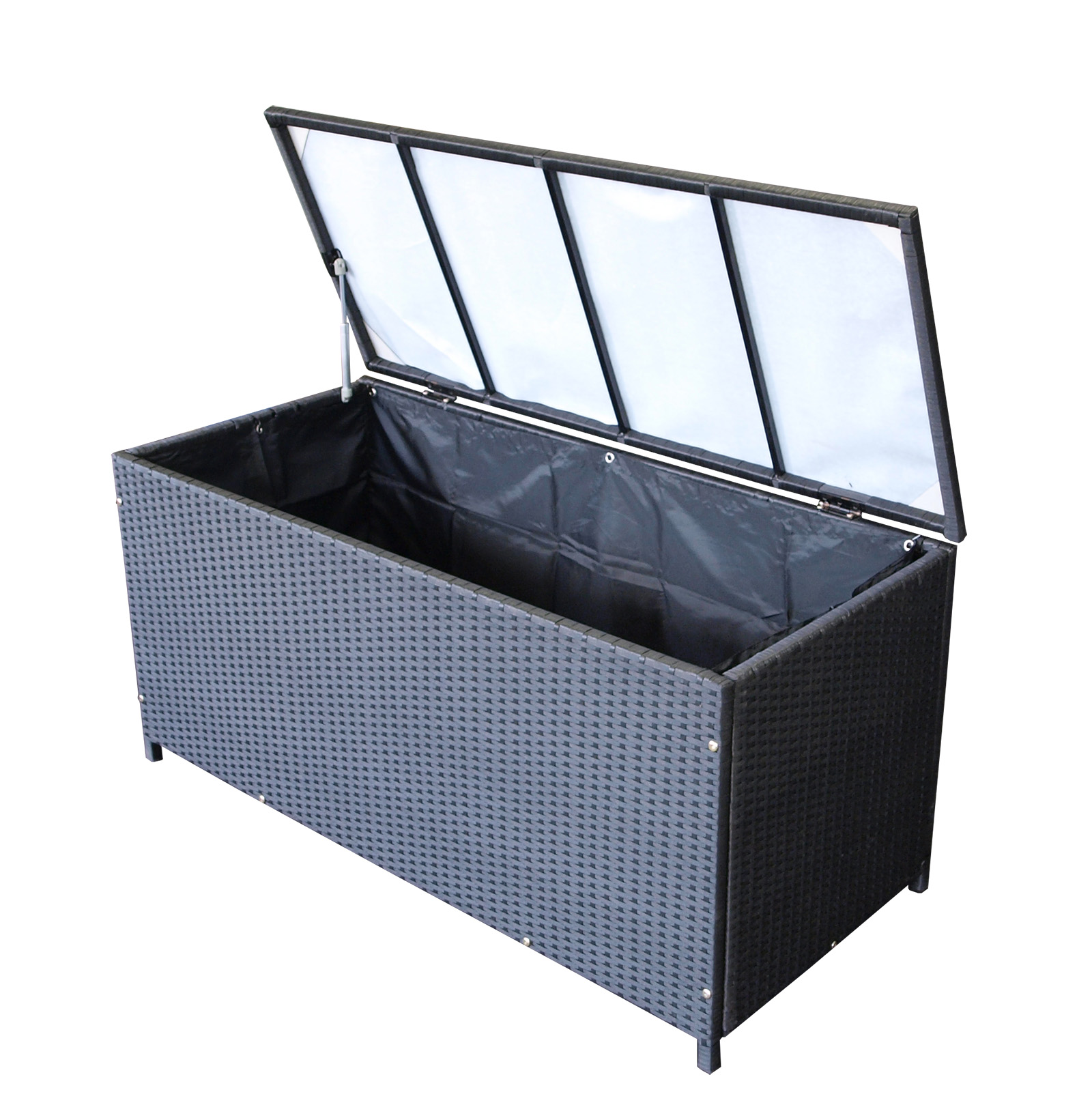 kissenbox auflagenbox kissentruhe gartentruhe 120x54cm rattan schwarz 2 wahl ebay. Black Bedroom Furniture Sets. Home Design Ideas