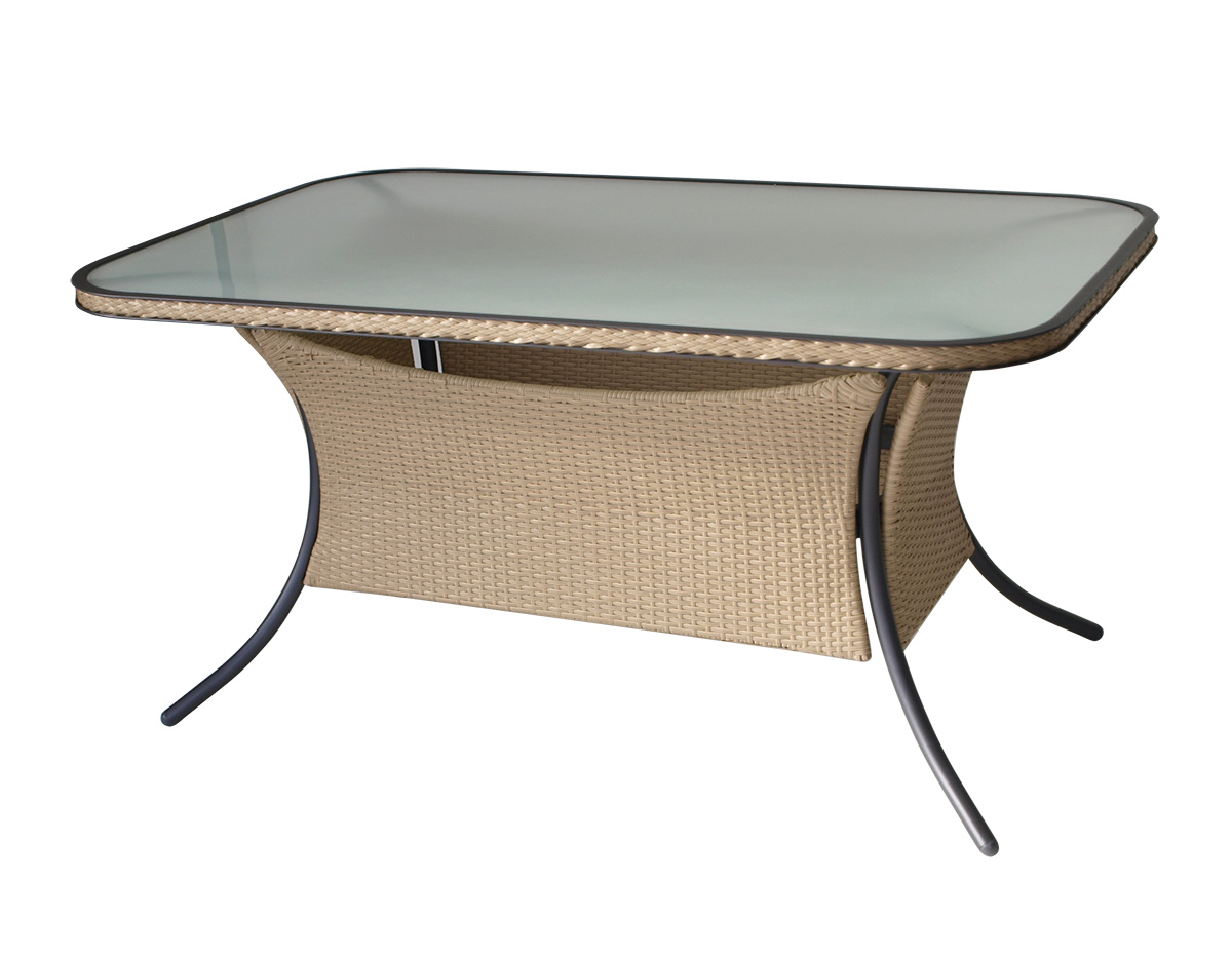 polyrattantisch rattantisch geflechttisch ferrara 140x90cm natur alu glas ebay. Black Bedroom Furniture Sets. Home Design Ideas