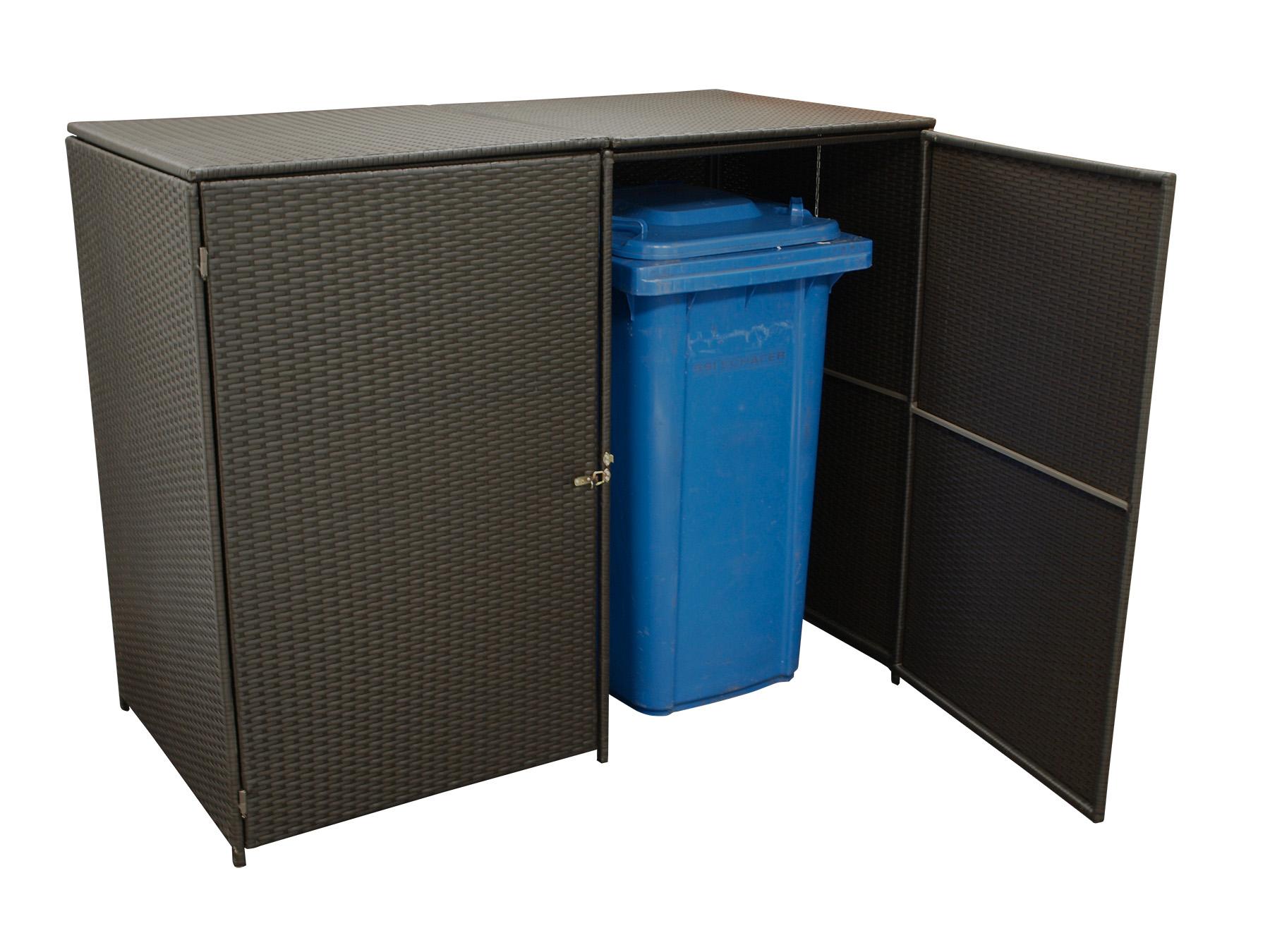 m lltonnenbox m lltonnenhaus 2 er bis 240 liter 150x78x123cm polyrattan mocca ebay. Black Bedroom Furniture Sets. Home Design Ideas