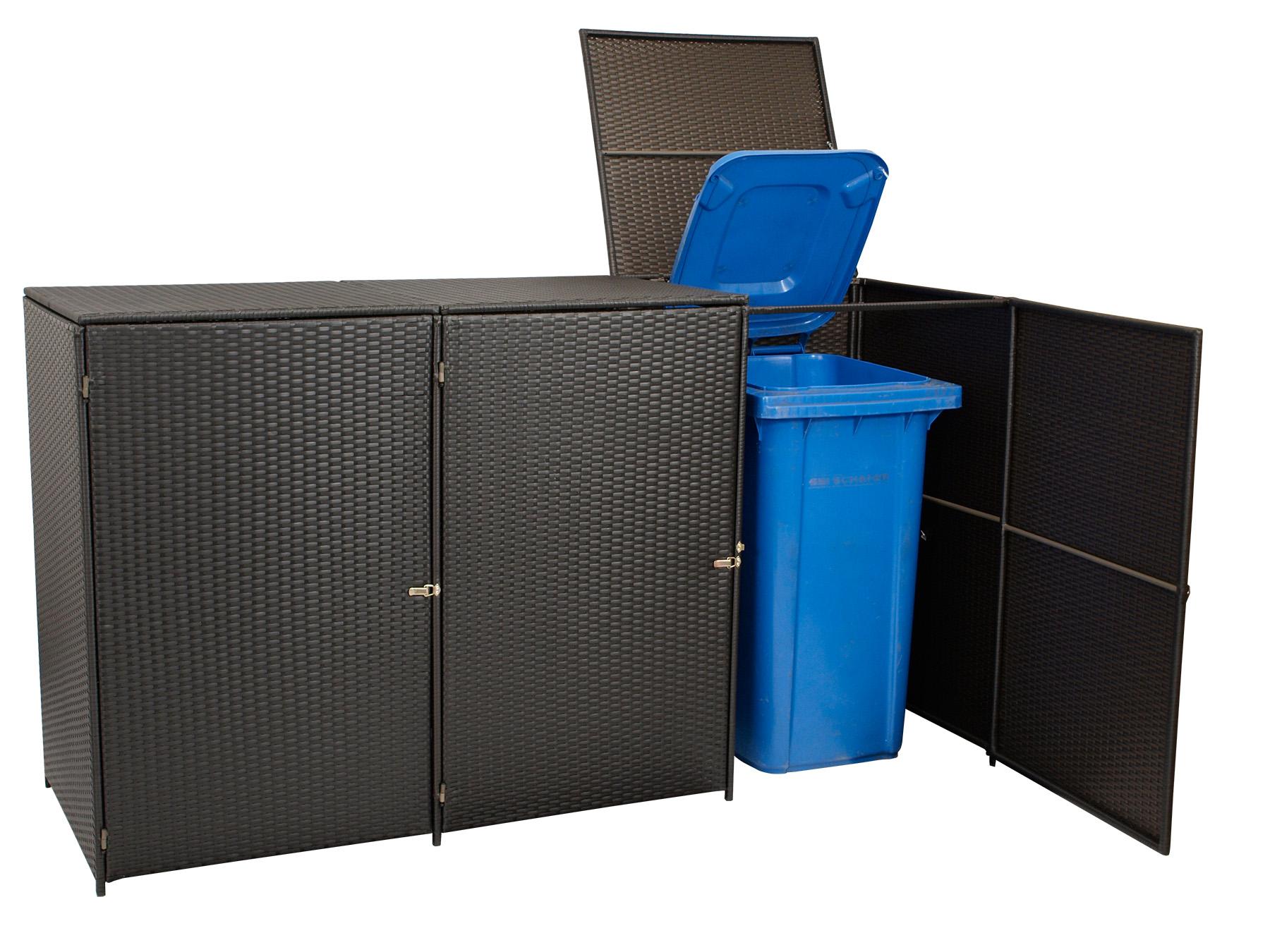 m lltonnenbox 3er m lltonnenhaus 3 er bis 120 liter 129x66x109cm rattan braun ebay. Black Bedroom Furniture Sets. Home Design Ideas