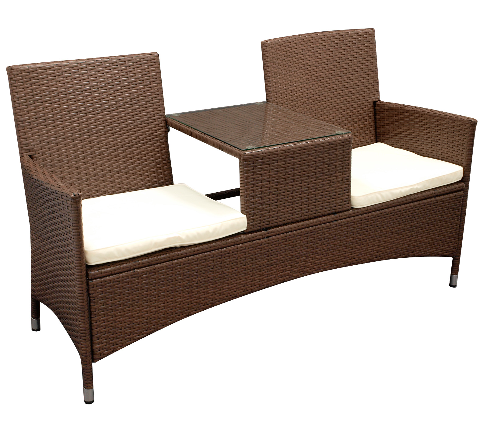 elegante tete tete bank san vincenzo 2 sitzer stahl polyrattan mocca bicolor ebay. Black Bedroom Furniture Sets. Home Design Ideas