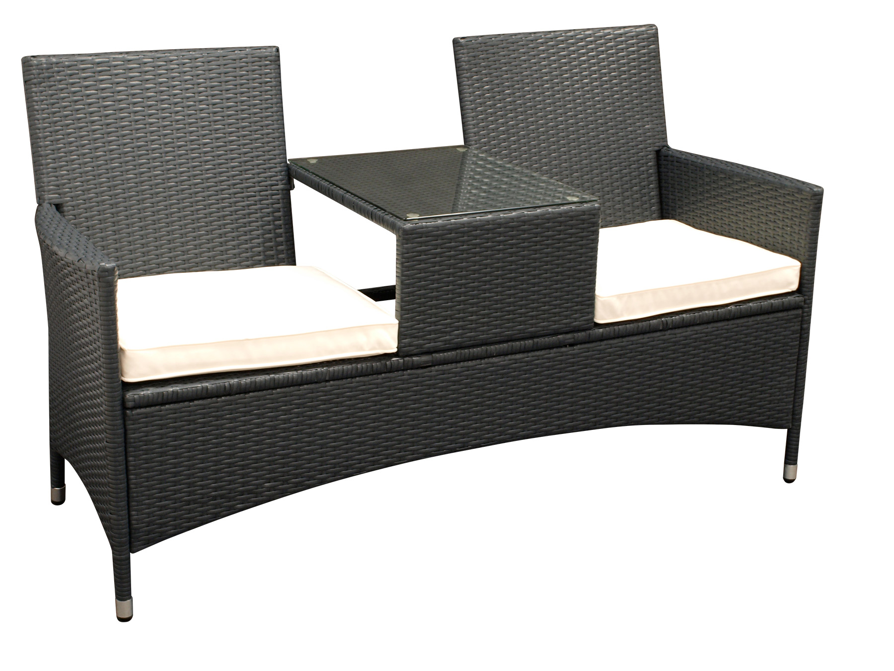 elegante tete tete bank san vincenzo 2 sitzer stahl polyrattan dunkelgrau ebay. Black Bedroom Furniture Sets. Home Design Ideas
