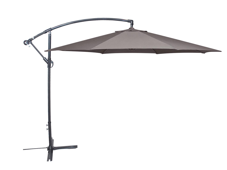 ampelschirm mit kurbel kurbelschirm 300cm mit alugestell grau bespannung taupe ebay. Black Bedroom Furniture Sets. Home Design Ideas