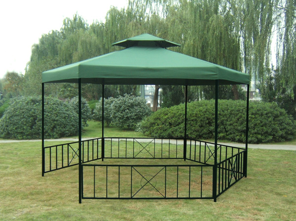 pavillon gartenpavillon metallpavillon siena 6 eckig dachplane wasserdicht gr n. Black Bedroom Furniture Sets. Home Design Ideas