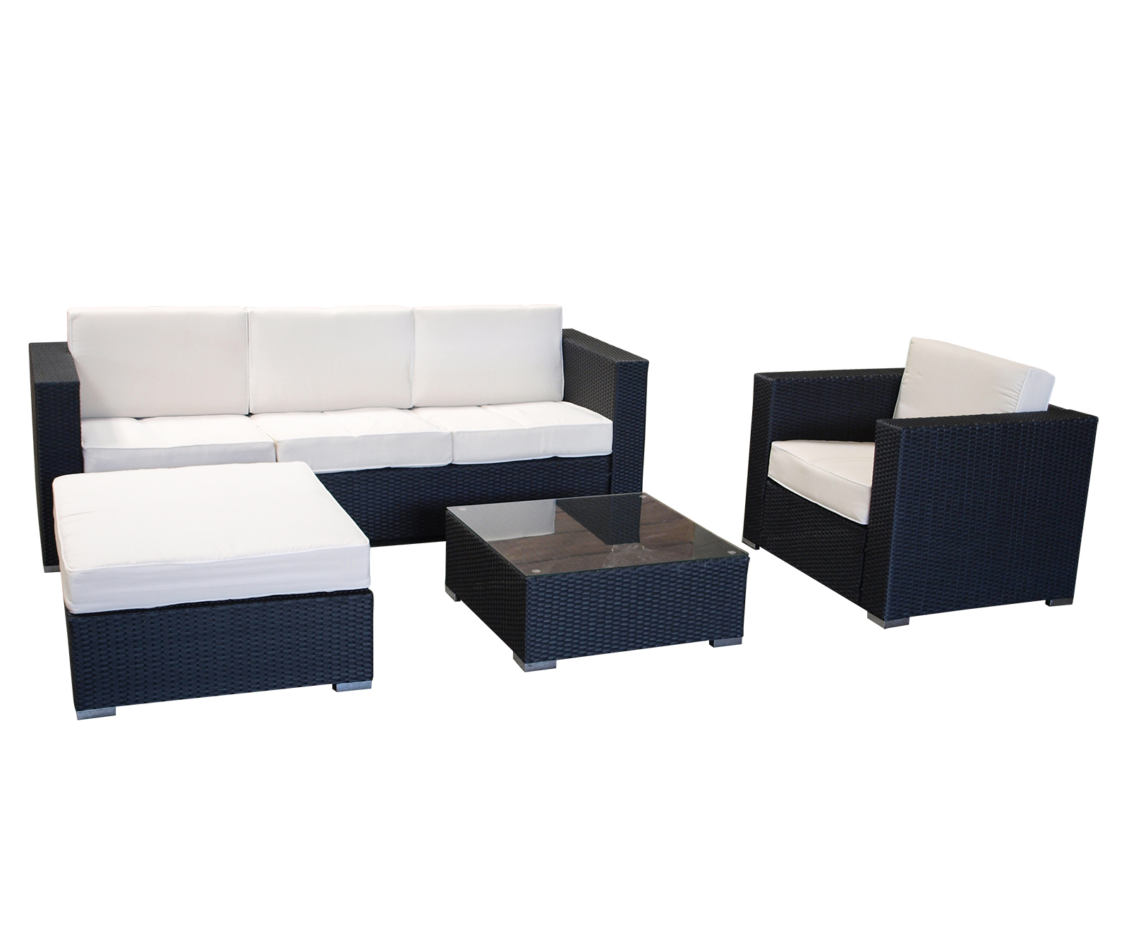 exclusive lounge gruppe loungeset livorno alu polyrattan grau mit polstern ebay. Black Bedroom Furniture Sets. Home Design Ideas